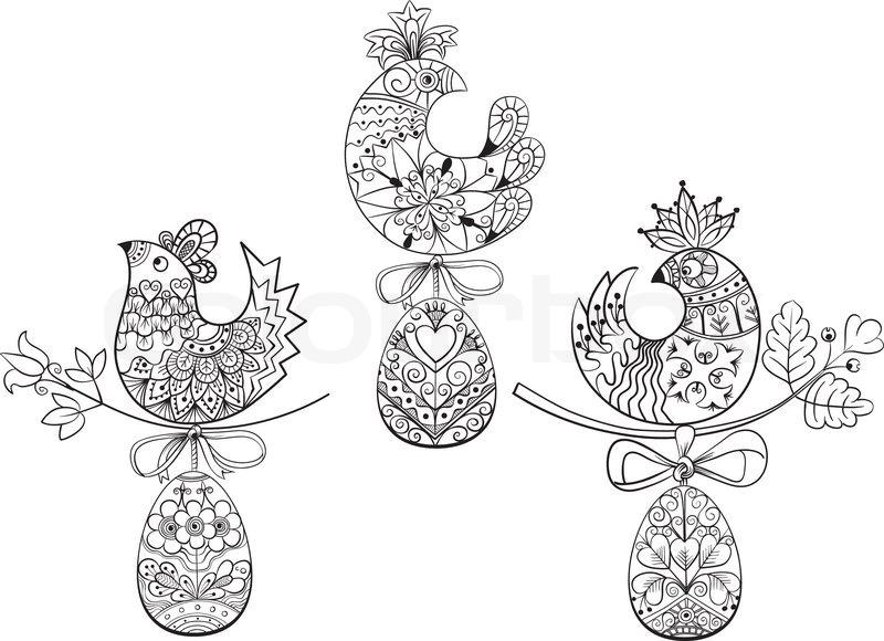 Malvorlagen mit Symbolen der Osterei Küken   Vektorgrafik   Colourbox