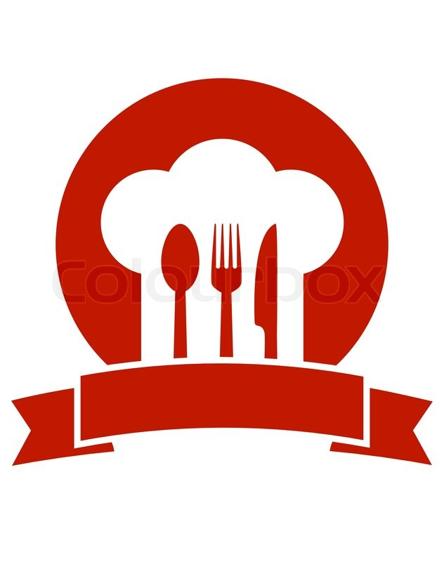 Red Restaurant Icon With Ribbon Chef Stock Vector