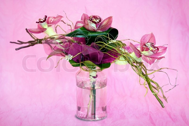 Bouquet of orchids in the background, stock photo