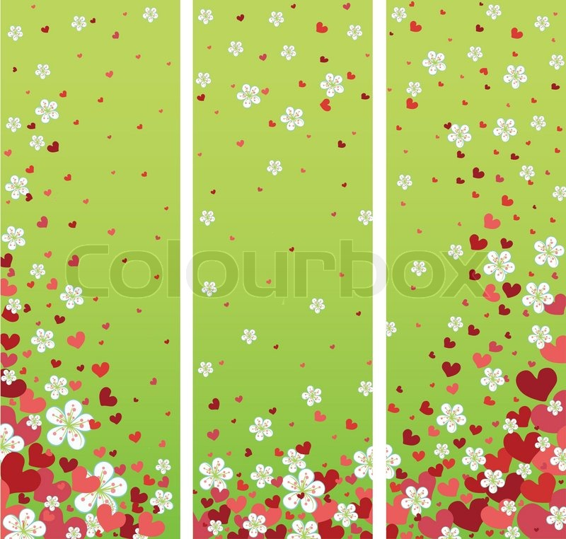 Flying hearts and spring flowers spring backgrounddesign templatestickerposterbannerwedding design vintageretro style vector illustration vector