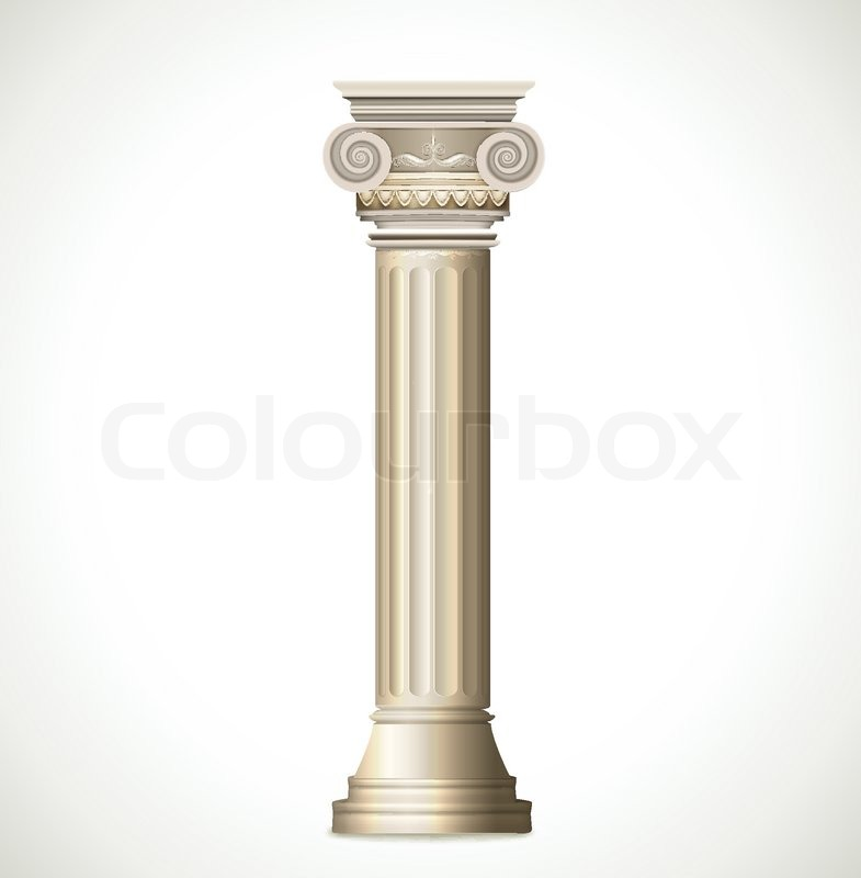 Greek Column isolated on white background. Vector ...