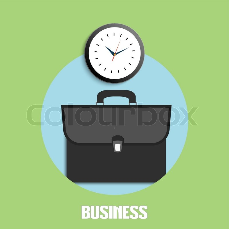 Open Briefcase Icon Briefcase And Clock Icons Business Concept For Office Workers
