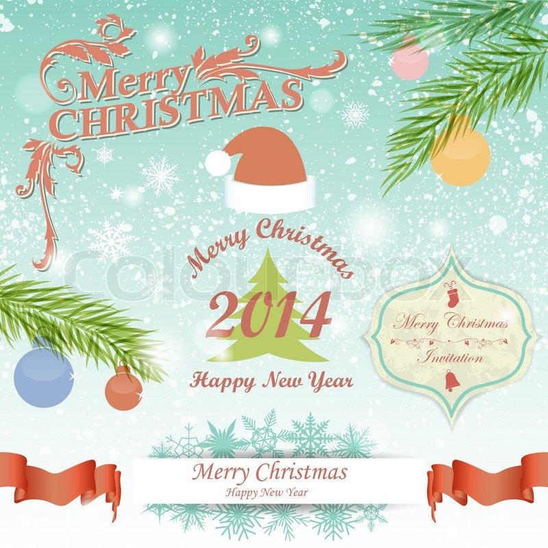 Christmas And New Year Symbols Greeting Cards Invitations Posters