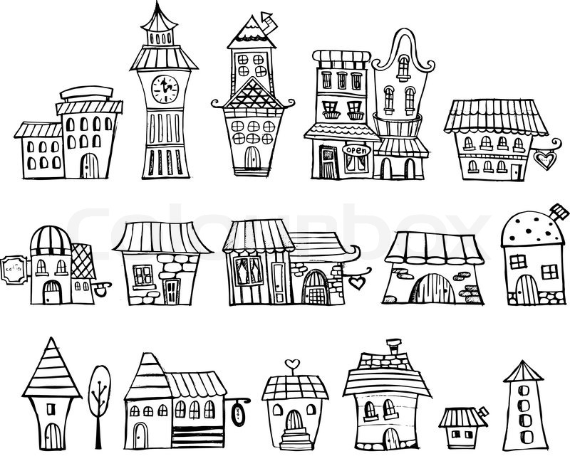 Line Art Images Of Houses : Cartoon vektor märchen häuser zeichnen vektorgrafik