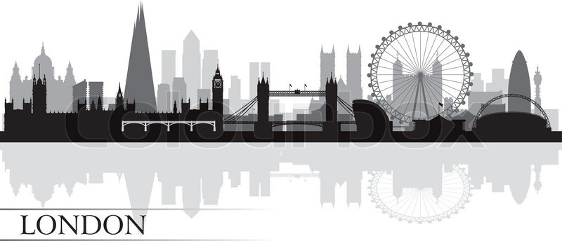 London City Skyline Silhouette Background Vector Illustration