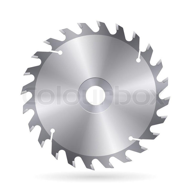 circular saw blade vector. metal blade of circular saw on white background, vector