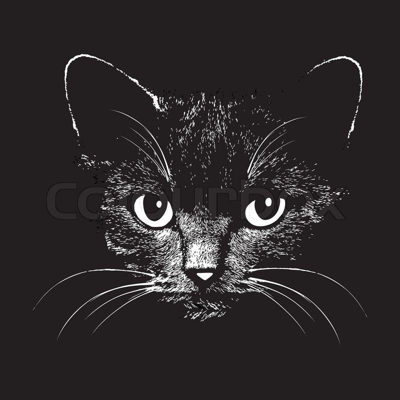 Cat Face Graphic Tee Black