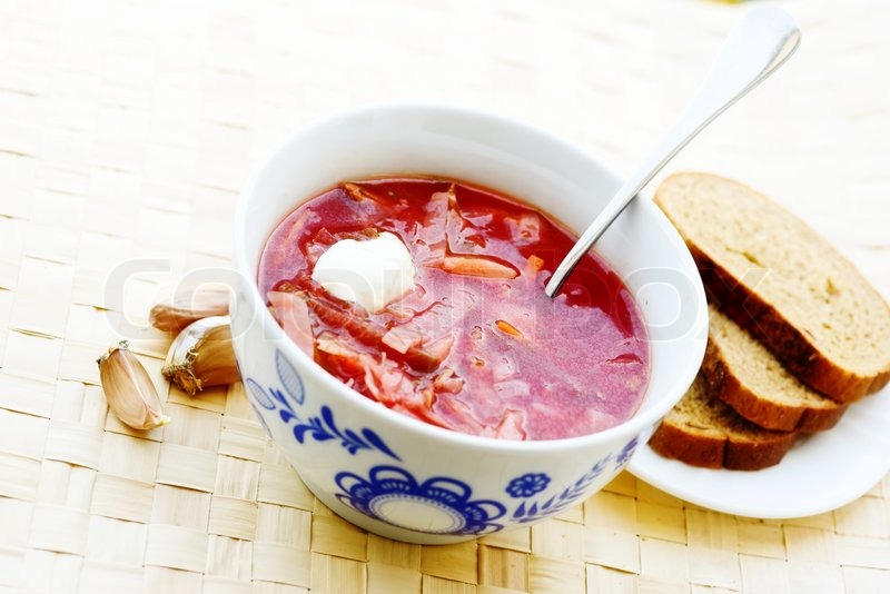Stock image of 'ukrainian and russian beet soup (borscht) with garlic ...