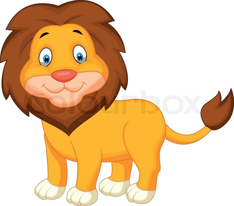 Vector illustration of cute lion cartoon stock