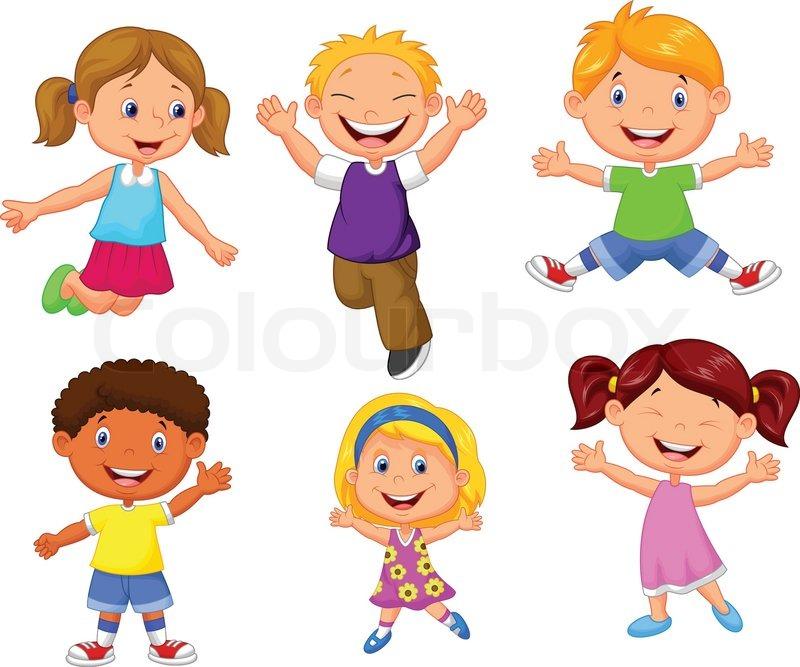 Vector Illustration Of Happy Kids Cartoon Stock Vector
