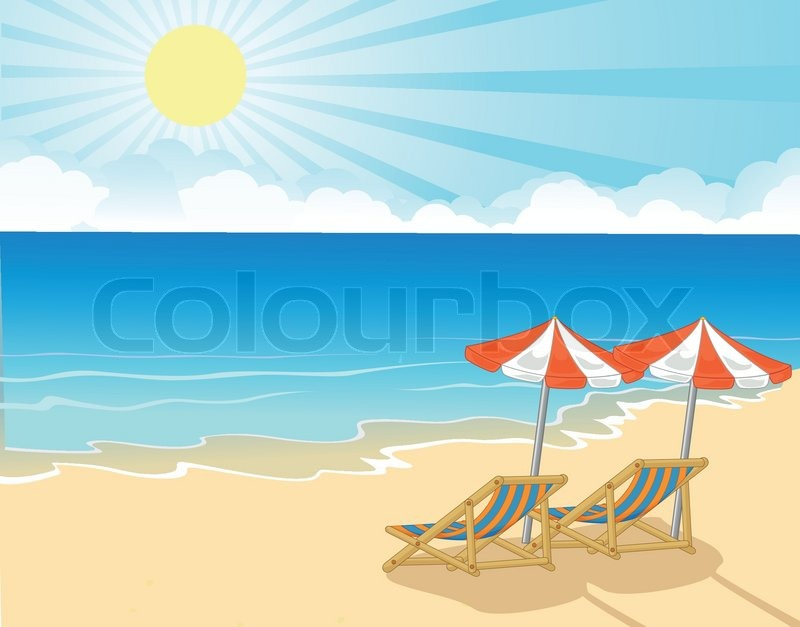 Vector illustration of cartoon beach chair and umbrella on vector illustration of cartoon beach chair and umbrella on tropical beach stock vector colourbox voltagebd Gallery