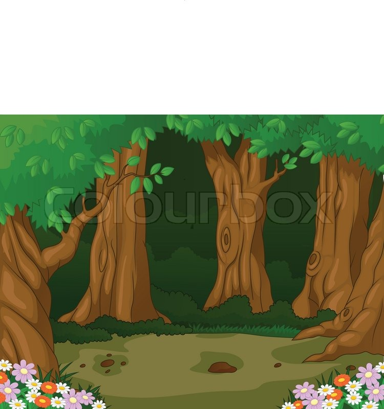Vector illustration of Forest background cartoon | Stock ...