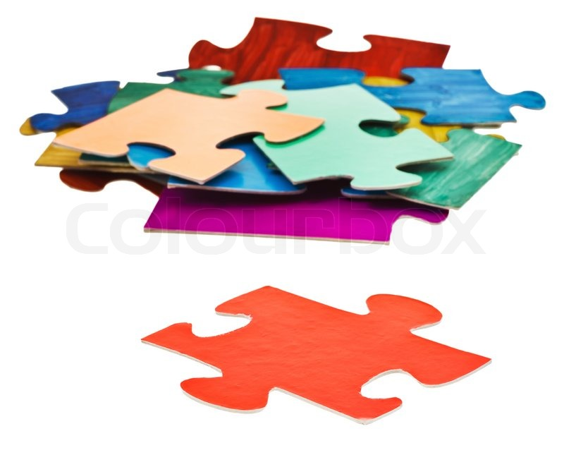 Separate Red Puzzle Piece In Front Of Pile Jigsaw Puzzles Isolated On White Background