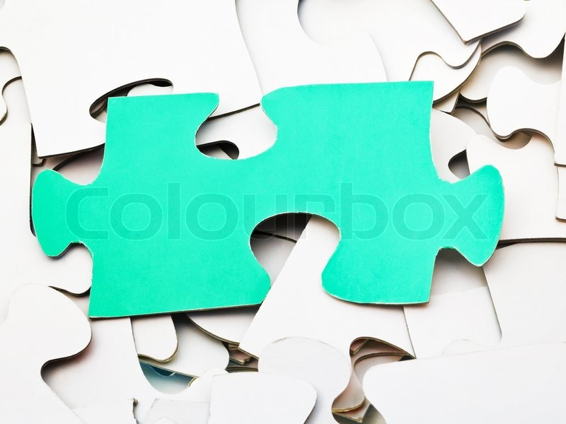 Separate Green Piece Of Puzzle On Pile White Jigsaw Puzzles