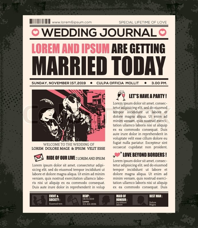Newspaper Style Wedding Invitation Vector Design Template | Stock