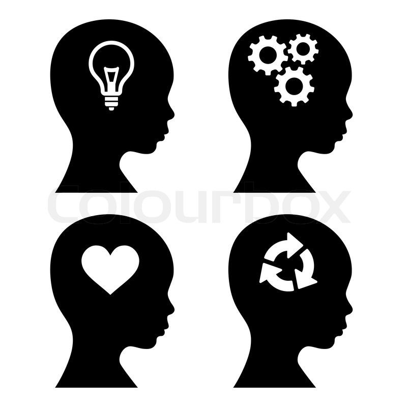 Head Silhouette with Idea Icons Set. Vector Illustration ...
