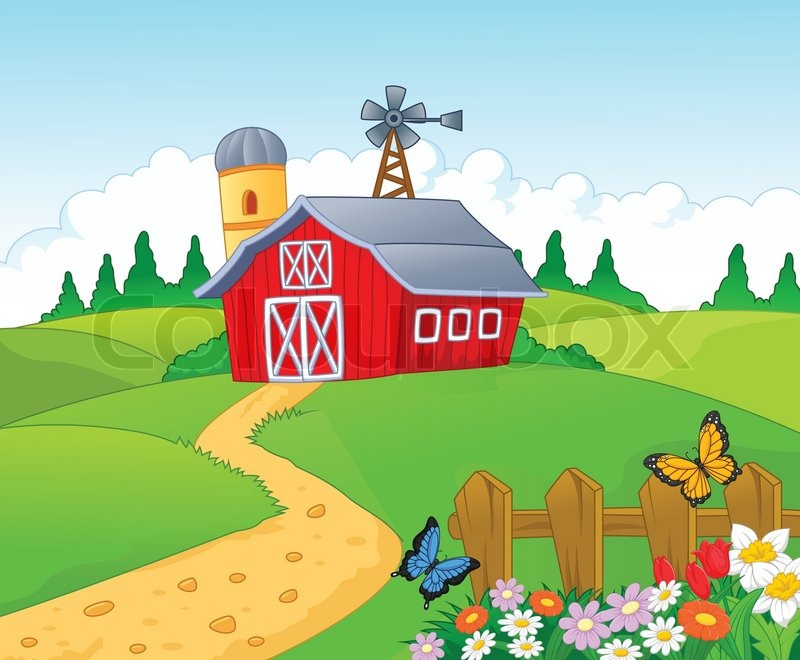 Vector Illustration Of Farm Cartoon Background Stock
