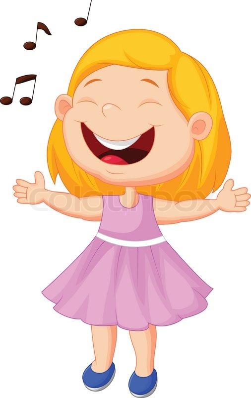 Vector illustration of Little girl cartoon singing | Stock ...  Cartoon