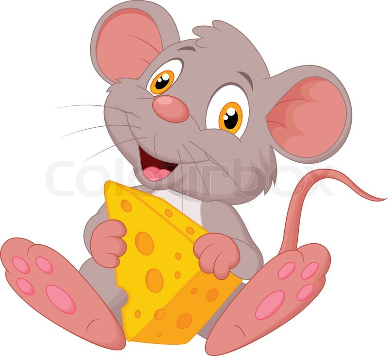 Süße Maus Cartoon Mit Käse Vektorgrafik Colourbox