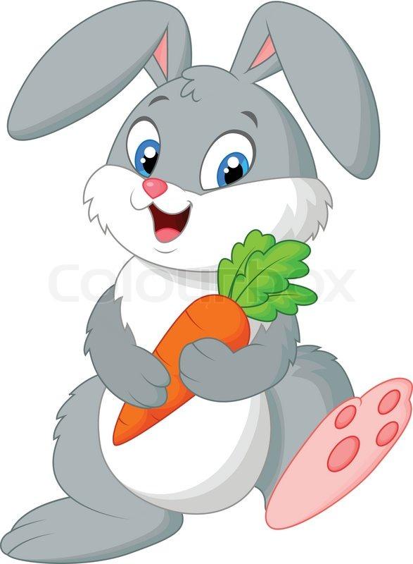 Vector illustration of Happy rabbit cartoon holding carrot ...