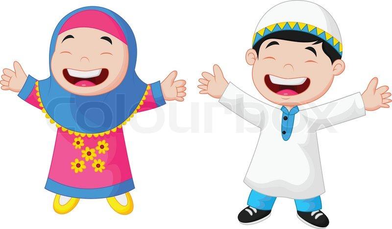 Vector illustration of Happy Muslim kid cartoon | Stock ...