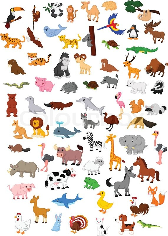 Stock vector of 'Vector illustration of Big animal cartoon set'