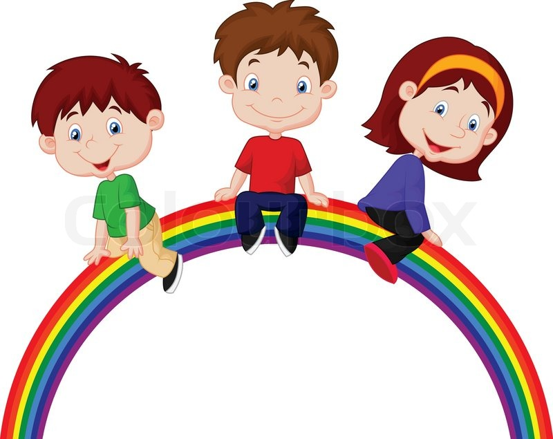 vector illustration of cartoon children sitting on rainbow stock vector colourbox