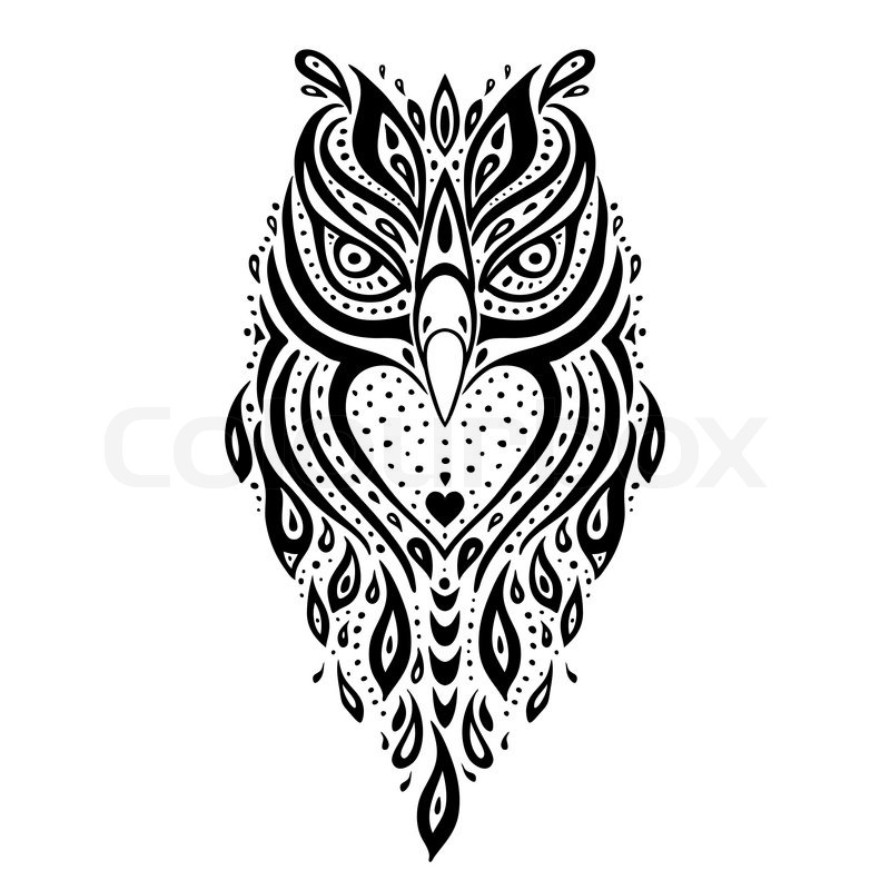 decorative owl tribal pattern ethnic tattoo vector illustration stock vector colourbox. Black Bedroom Furniture Sets. Home Design Ideas