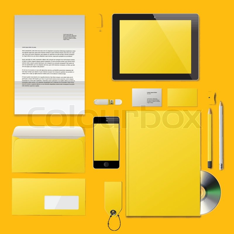 Yellow Corporate ID mockup. Consist of business cards, cd disk ...