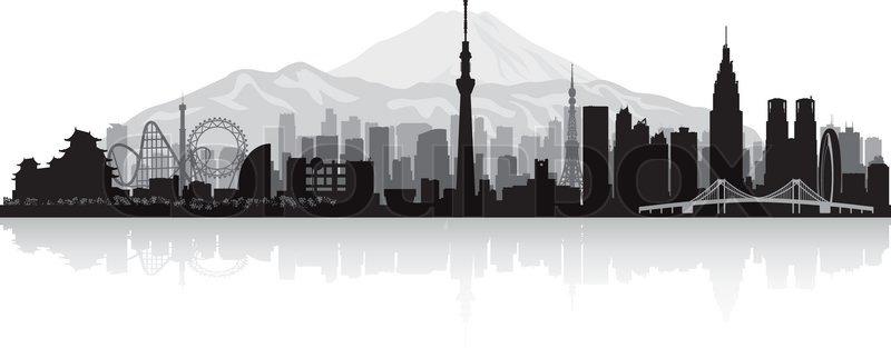 Tokyo Japan City Skyline Vector Silhouette Illustration