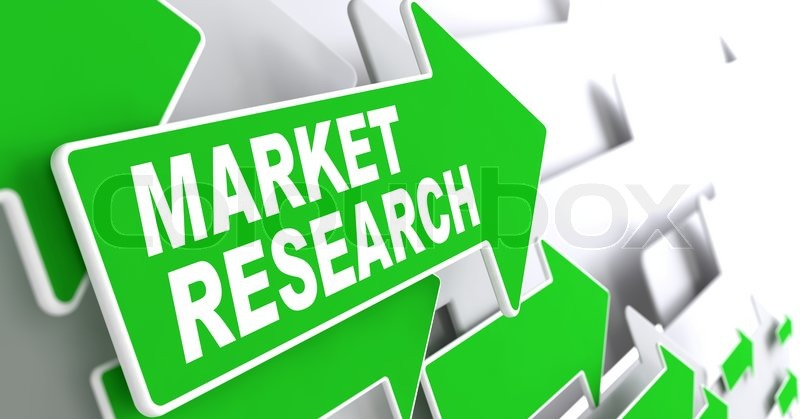 Market Research Concept. Green Arrows on a Grey Background Indicate the Direction, stock photo