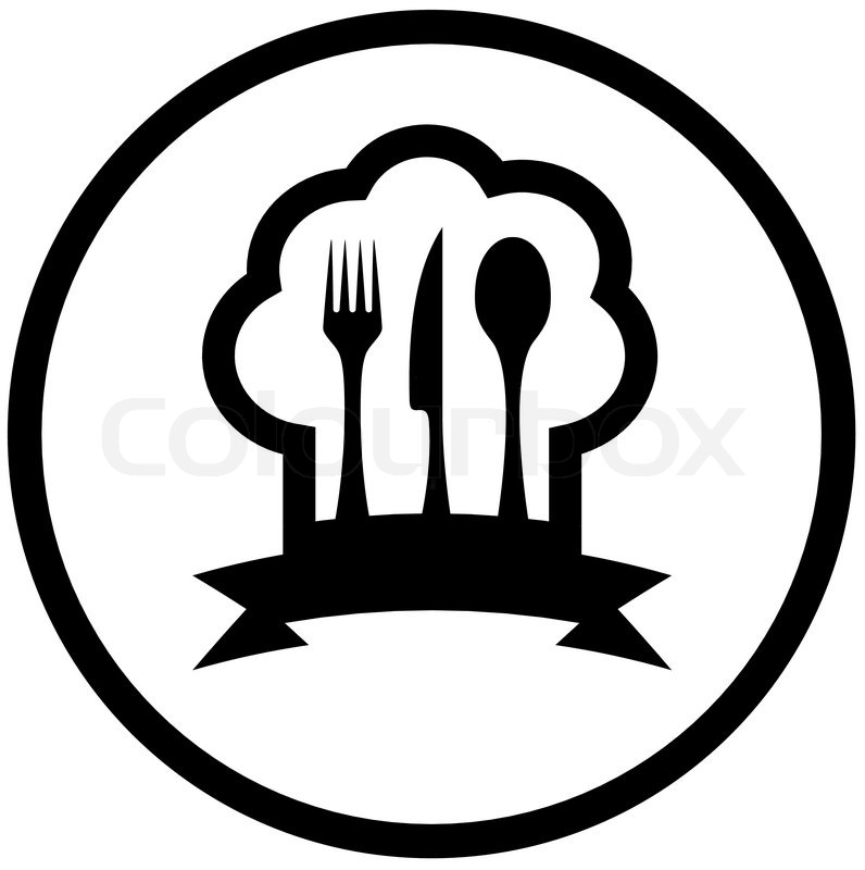 Round Food Icon With Chef Hat And Stock Vector