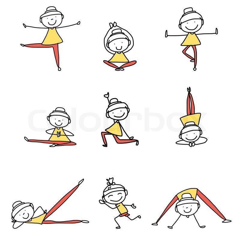 Hand Drawing Cartoon Happy People Yoga Stock Vector Colourbox