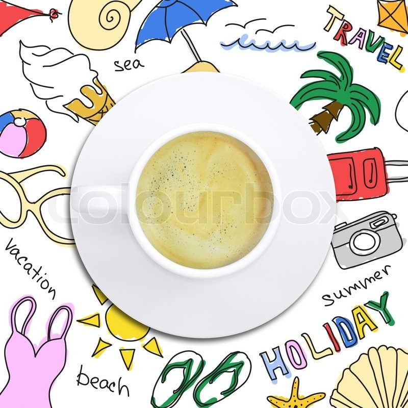 Colored summer sketches around cup of coffee. White background, stock photo