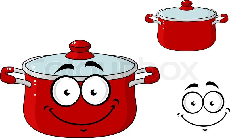 Wenig rot Cartoon Kochen Topf mit Deckel | Vektorgrafik | Colourbox