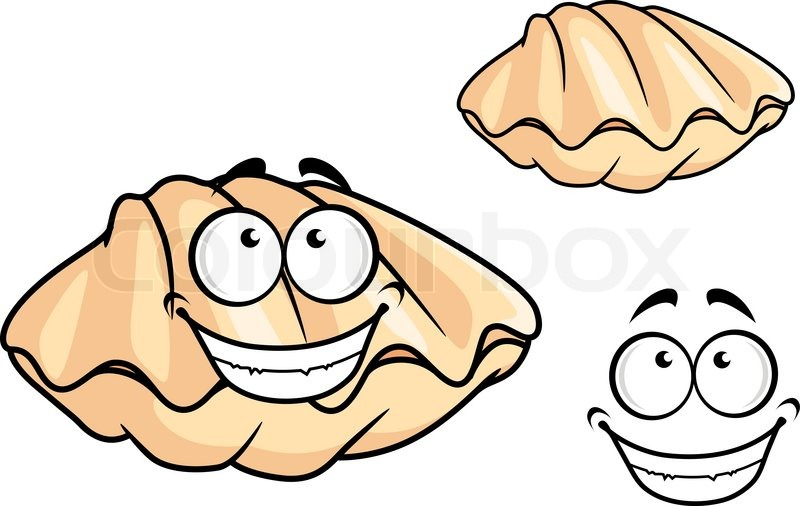Cartoon clam shell or mussel with a happy toothy smile ...