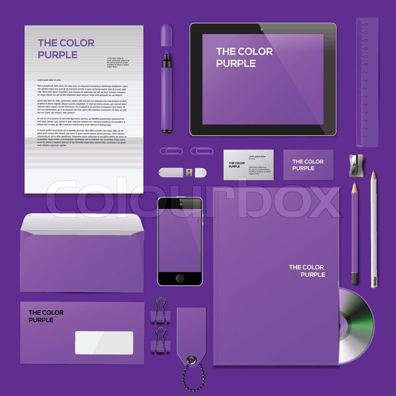 Purple Corporate ID mockup. Consist of business cards, cd disk ...