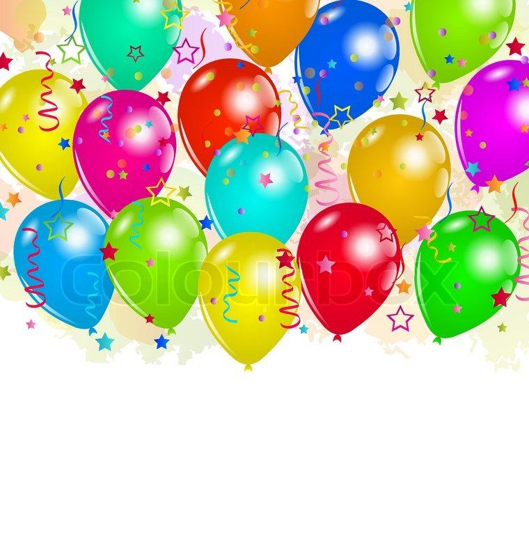 set party ballons konfetti mit platz f r text vektorgrafik colourbox. Black Bedroom Furniture Sets. Home Design Ideas