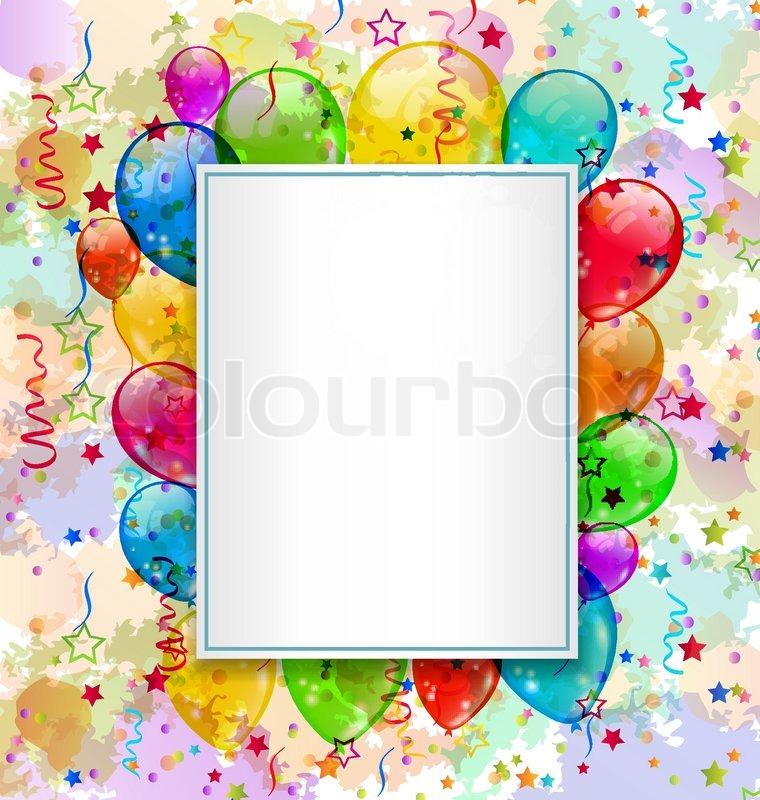 geburtstagskarte mit ballons und konfetti vektorgrafik colourbox. Black Bedroom Furniture Sets. Home Design Ideas