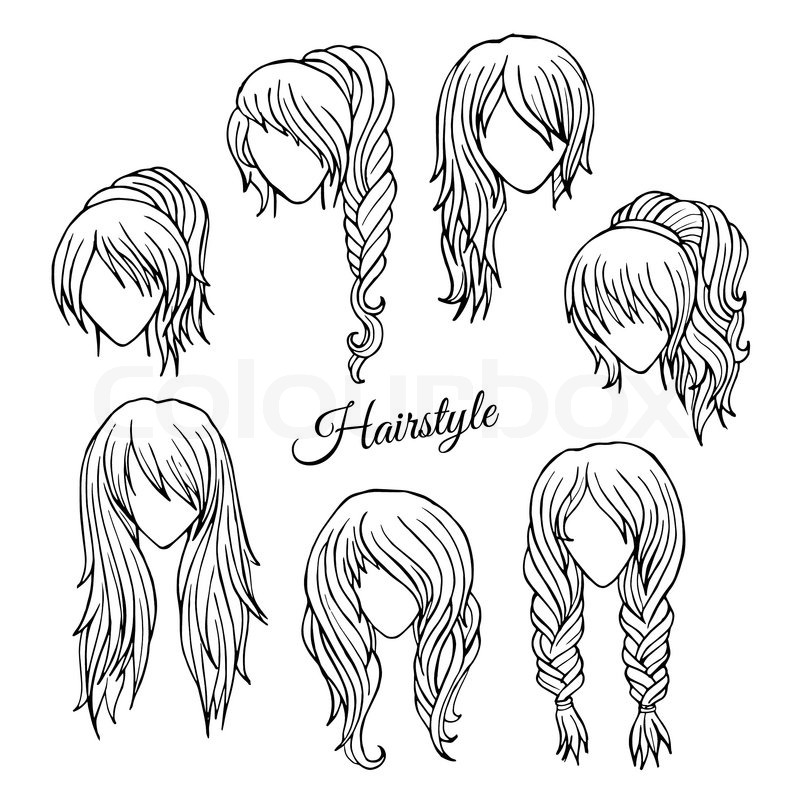 Line Drawing Hair : Abstract hair styles sketch hand drawn vector set stock