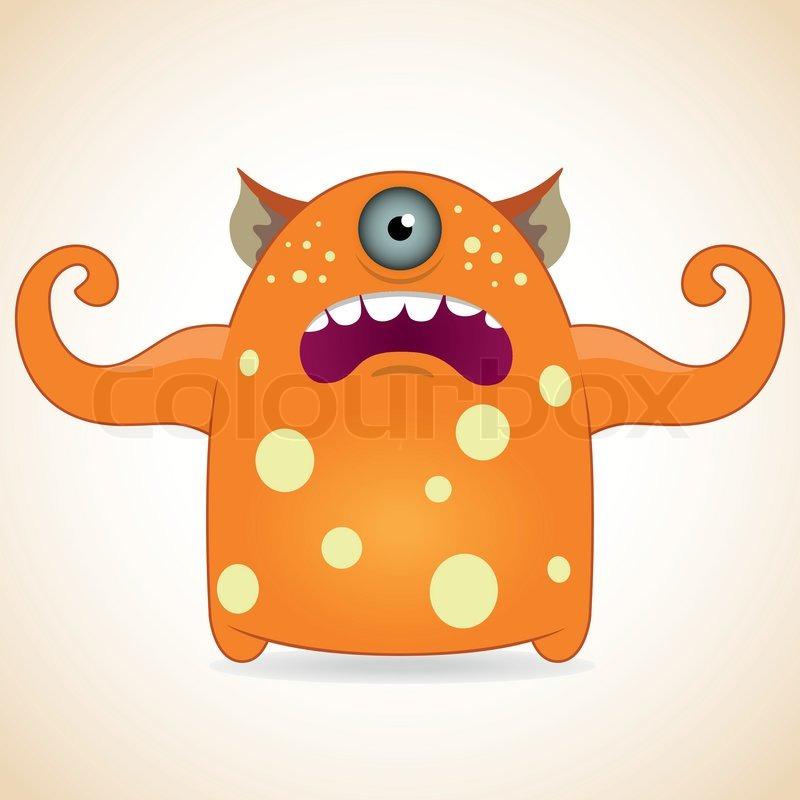 Orange Monster Logo One Eyed Orange Monster
