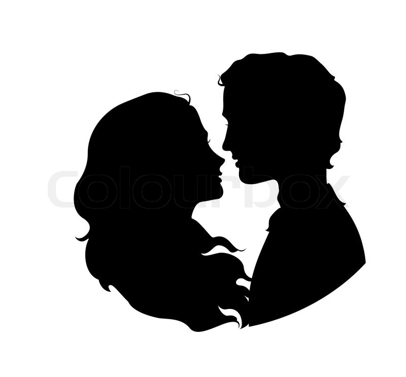 Silhouettes of loving couple. Eps 8 vector illustration ...