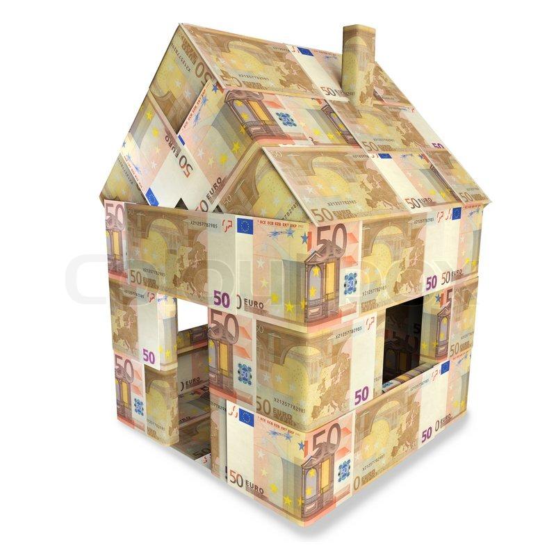 haus aus 50 euroscheinen und kleingeld stockfoto colourbox. Black Bedroom Furniture Sets. Home Design Ideas