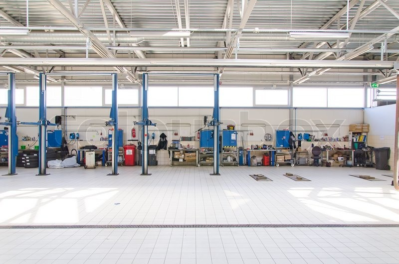 View of automobile repair shop or garage, stock photo