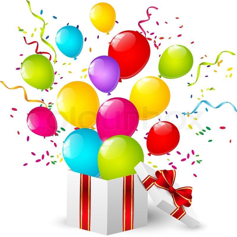 Geschenkbox mit Farbe-Ballons | Vektorgrafik | Colourbox