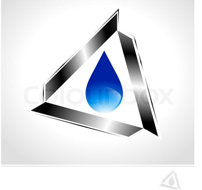 Water Drop Vector Abstract Industrial Blue Water Drop Design in Metal Triangle Vector