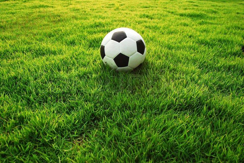 Football green grass ball stadiun football field game sport background for design, stock photo