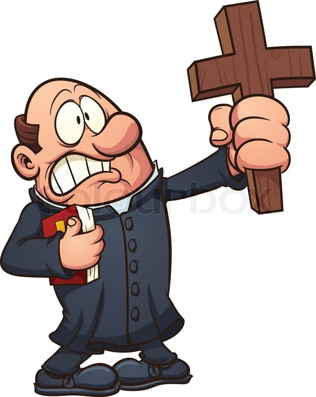cartoon priest holding a big cross vector clip art illustration rh colourbox com priest clipart images priest clipart gif