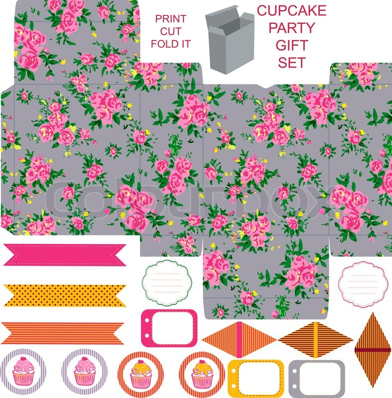 Gift box with empty labels template. Party kit. Abstract floral ...