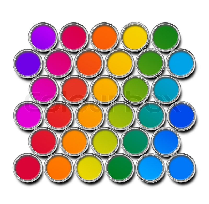 Paint cans color spectrum top view isolated on white for Paint color spectrum